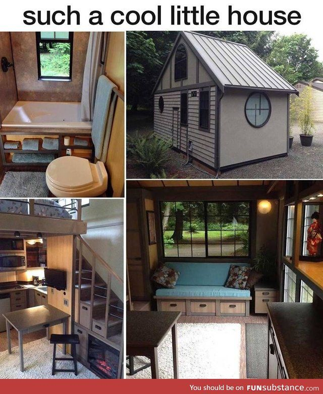 280 Sq.Foot Japanese Inspired Tiny House near Portland, Oregon - Has upstairs loft, jetted tub and collapsible roof for moving. | Watch video tour here: http://www.fyi.tv/shows/tiny-house-hunting/videos/tiny-and-portable-in-portland