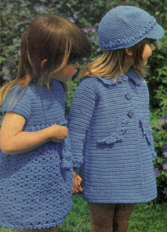 VKNC74 Beautiful Girls Hat Dress and Coat by VintageKnitNCrochet, £1.90