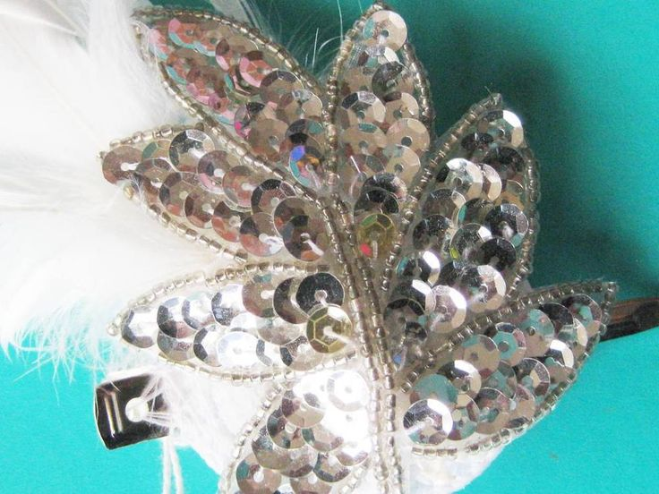 Bridal silver sequined leaf and white feather clip handmade