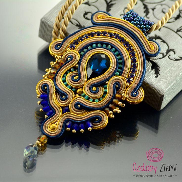 Soutache Pendant Blue Pendant Beige and Navy blue by OzdobyZiemi