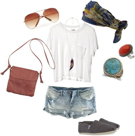 White tee shirt and jeans outfit 3: Statement rings, TOMs, cross-body bag, patterned scarf, aviators