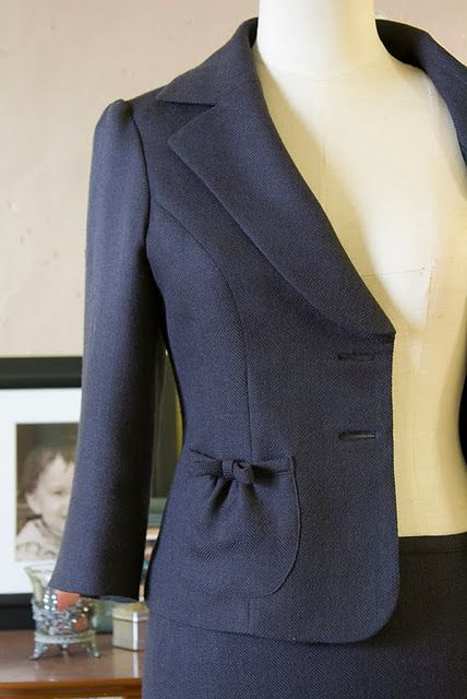 Jacket Pocket with Bow Detail