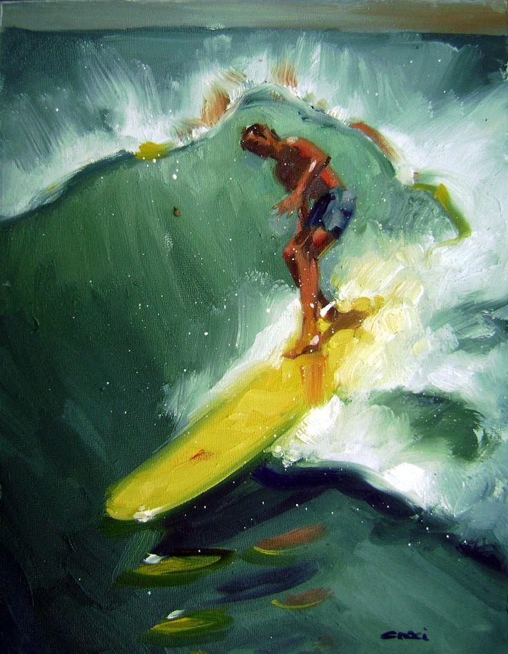 GOIN GREEN ~ #Art by Ron Croci #surfart #surfing