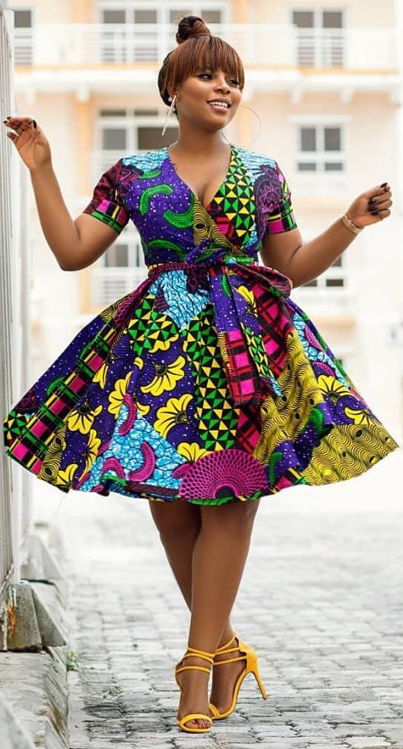 African Print Short Dress, African Fashion, Ankara