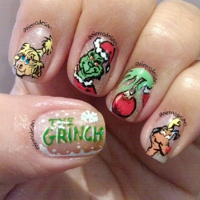 Christmas Nail Designs Tutorial: 93 Best Grinch Christmas Nails & Nail Art Design Tutorial