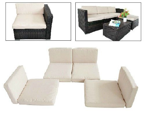 8Pc Replacement Cushions Cover Set Cream White Outdoor Rattan Sofa Furniture Set #SmartDealsMarket