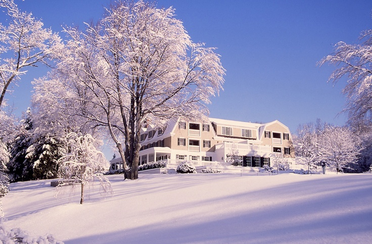 Relais & Chateaux - Less than two hours from the Big Apple, nestled in lush grounds, this property boasts a highly-acclaimed spa. The Mayflower Inn & Spa - USA  #relaischateaux #snow #trees
