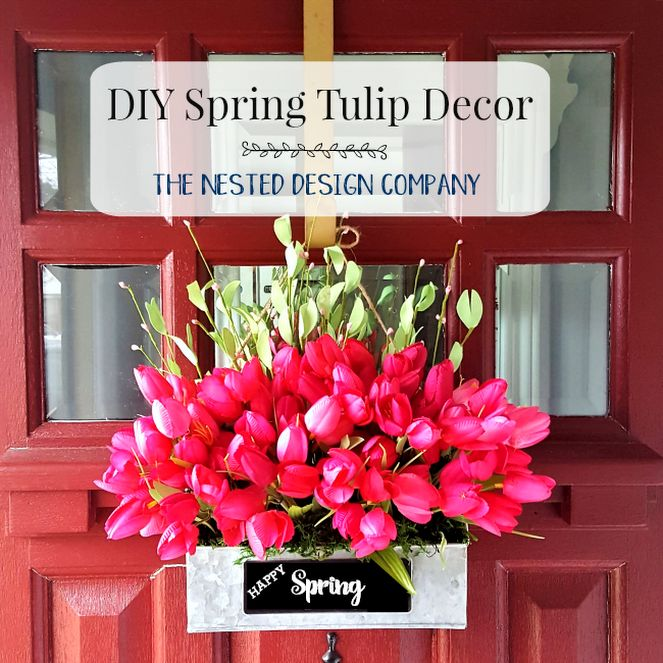 DIY Spring Tulip Wreath Decor - THE NESTED DESIGN COMPANY