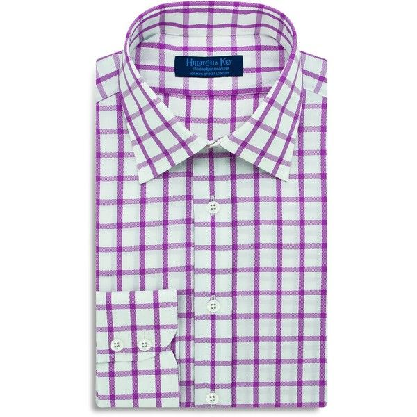 Hilditch & Key Large Check Regular Fit Dress Shirt (1.655 NOK) ❤ liked on Polyvore featuring men's fashion, men's clothing, men's shirts, men's dress shirts, purple, mens tailored dress shirts, mens regular fit shirts, mens tailored shirts, mens patterned shirts and mens purple dress shirt
