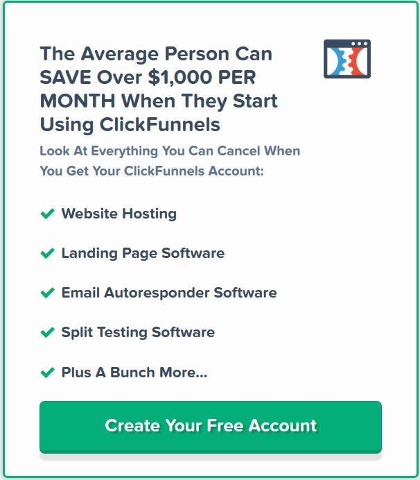 Get your FREE 14 day trial at Click Funnels save huge amount of time creating your sales funnels. Basically everything is all set up for you website hosting, landing page software, autoresponder  and split testing. Take action and test it now.