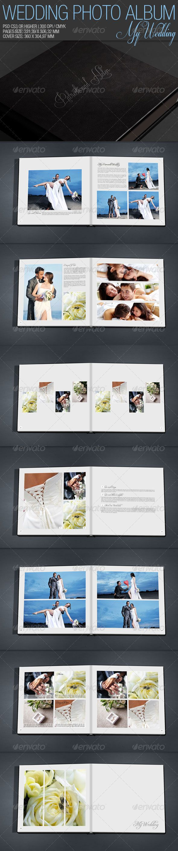 Wedding Photo Album — Photoshop PSD #b&w #photography • Available here → https://graphicriver.net/item/wedding-photo-album/1947187?ref=pxcr