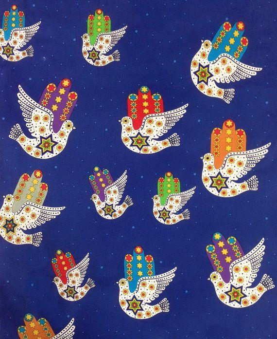 Hamsa Dove of Peace Jewish Judaica Fabric on by FayNicollJudaica