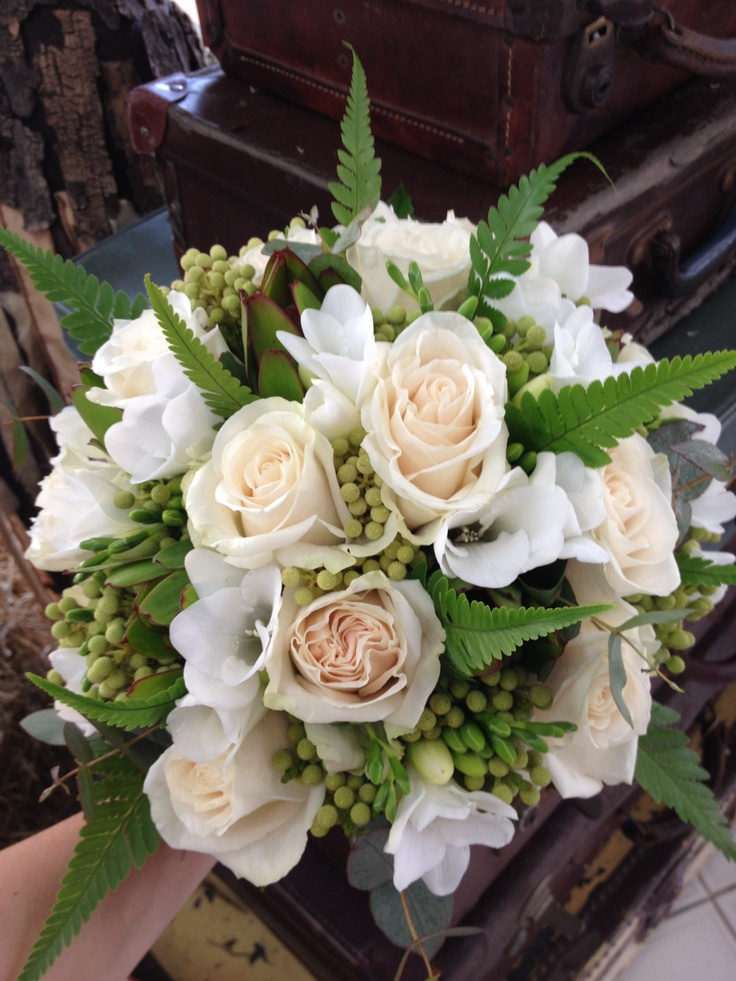 Beautiful bouquet for a beautiful bride  -Designed & Made by Rahenna -Flowers used.. Roses, Freesias, berzilia, Gum Foliage & Fern Foliage