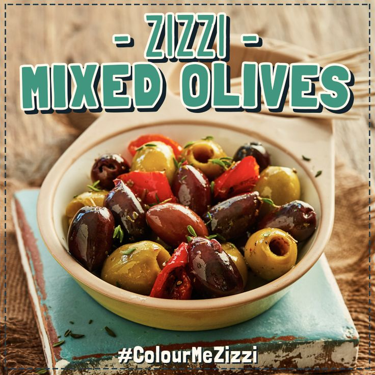 Zizzi Mixed Olives our mix of pitted green & purple olives in a garlic, red pepper & herb oil. #ColourMeZizzi