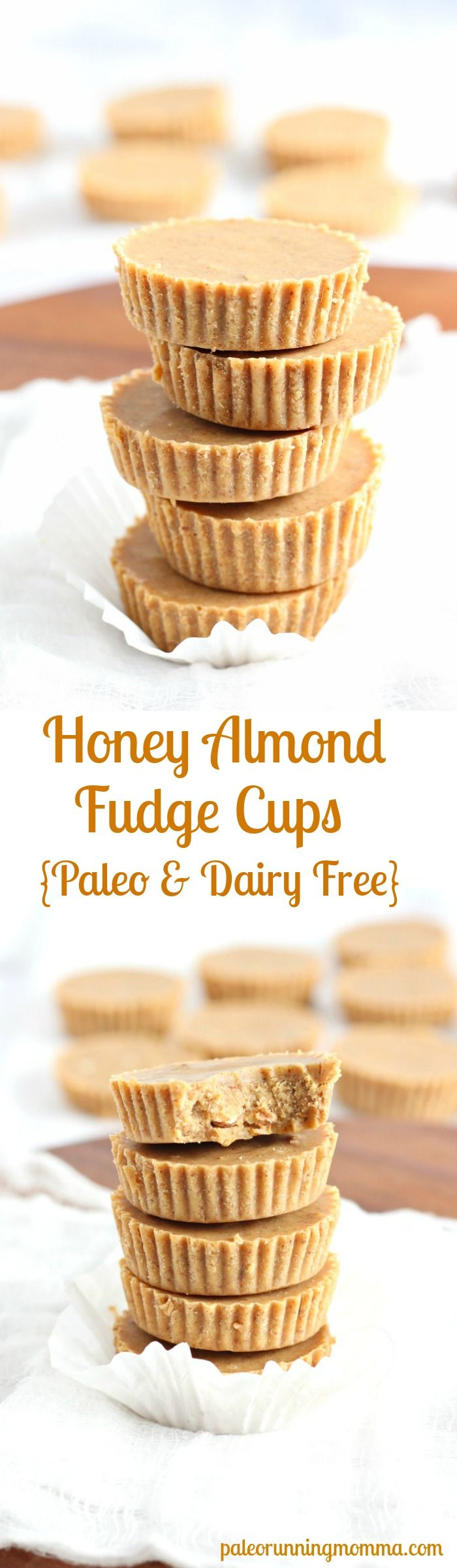 Healthy and super easy 5 ingredient, no cook Honey Almond Fudge Cups! Gluten free, Paleo, dairy free, seriously amazing treat that you won't believe is actually healthy! paleorunningmomma.com