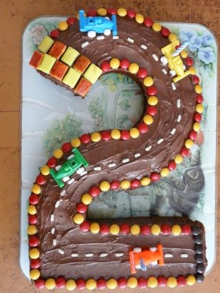 What a great idea! Even if you make a sheet cake, you can still create the track out of the birthday number!