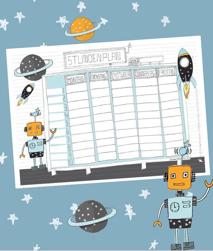 Die Stundenplan Vorlage mit Rakete und Roboter - für alle Weltraum-Fans zum Schulanfang - als Free Printable zum kostenlosen ausdrucken auf FAMILICIOUS.de // timetable schedule template rocket  - space - robot free printables
