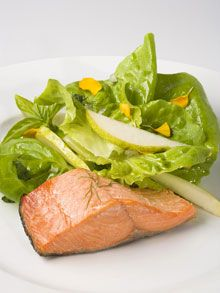 Wild Salmon with Pear, Butter Lettuce, and Fresh Herbs - The Ornish Spectrum Heart Disease Prevention Program.