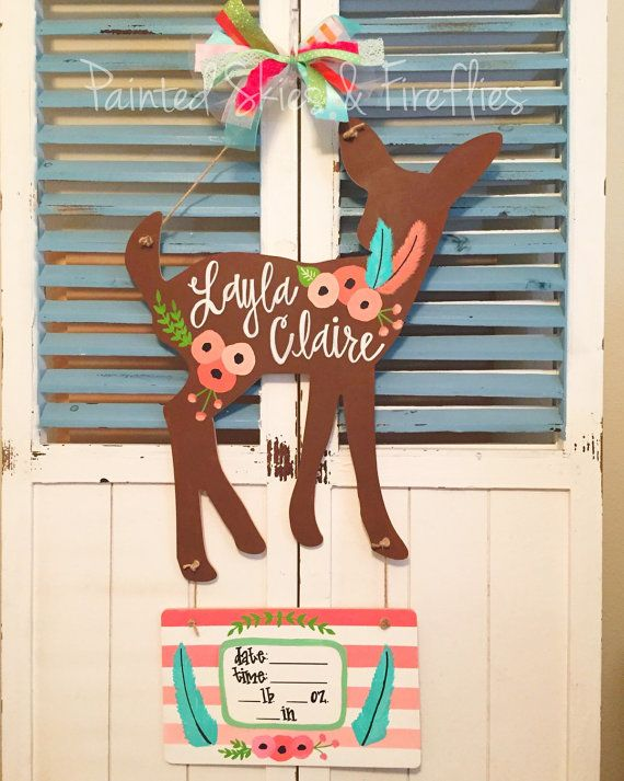 Hospital Door Hanger / Fawn / Birth by paintedskyfirefly on Etsy