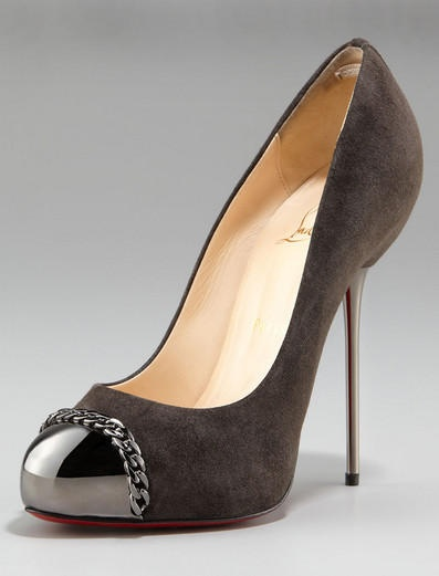 Christian Louboutin Metal-Stiletto Brown and Black Round Toe Suede Pump