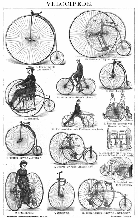 """Drawing of various antique bicycles, or """"velocipedes"""" as they were then called, from an 1887 German encyclopedia."""