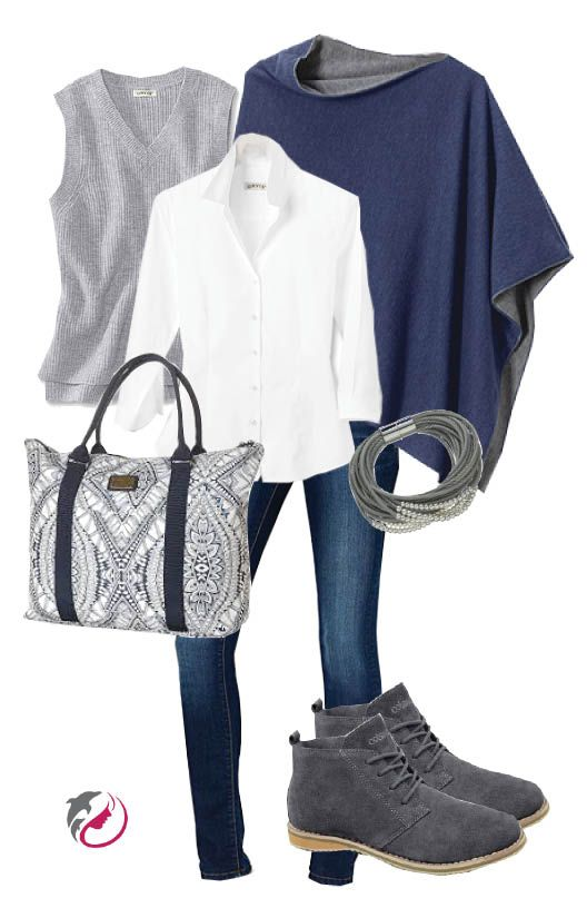 Grey & Navy. Soho jeans are a basic for travel.  Combine them with comfy Cotswold desert boots, a wrinkle free classic white blouse, wool vest and double sided merino wool poncho (all from Orvis). Add a pretty chunky bracelet and a tote like this one from Rip Curl and you're all set to go.