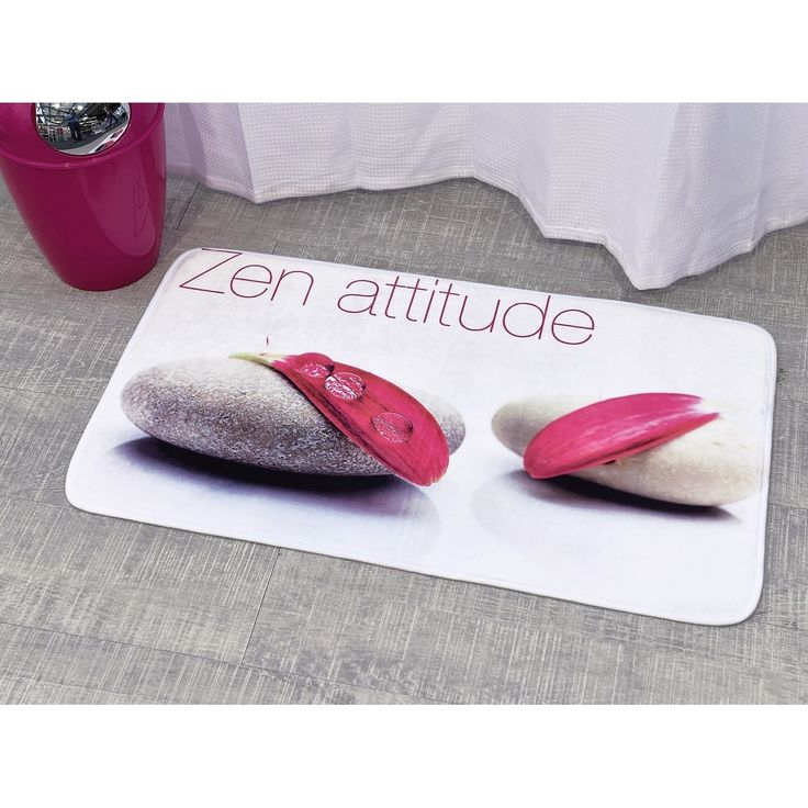 Evideco Microfiber Bath Mat Design ZEN Attitude White Rug
