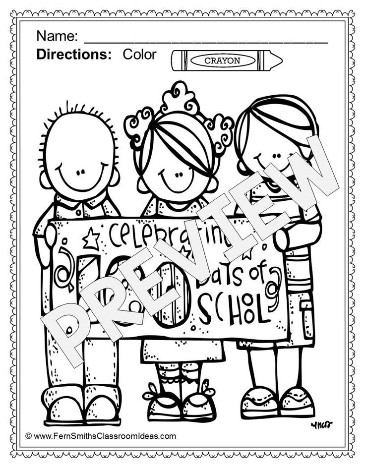 100th day of school coloring pages dollar deal