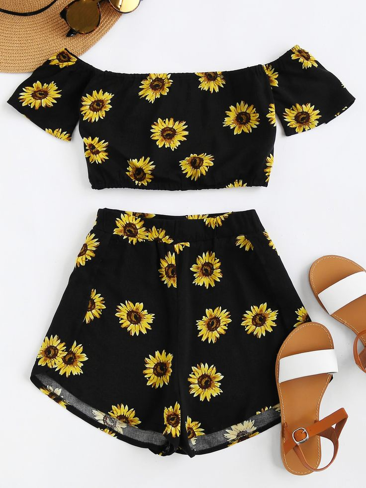 ¡Cómpralo ya!. Bardot Sunflower Print Crop Top And Shorts Set. Shorts Black Yellow Polyester Floral Off the Shoulder Short Sleeve Sexy Vacation Fabric has no stretch Summer Two-piece Outfits. , topcorto, croptops, croptop, croptops, croptop, topcrop, topscrops, cropped, topbailarina, corto, camisolacorta, crop, croppedt-shirt, kurzestop, topcorto, topcourt, topcorto, cortos. Top corto de mujer de SheIn.