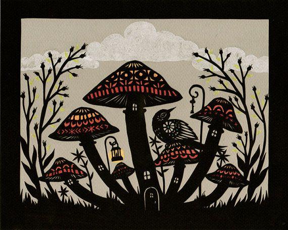 Rain Shelter - Cut Paper Art Print