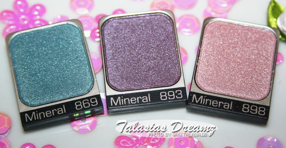 Artdeco Pure Mineral Eyeshadows 869, 893 & 898, swatches: http://www.talasia.de/2013/01/31/amu-swatch-artdeco-pure-mineral-eyeshadows/