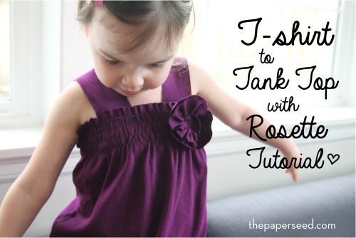 Craft Re-fashion Tutorial: T-shirt to Girls Tank Top with Rosette | Paperseed