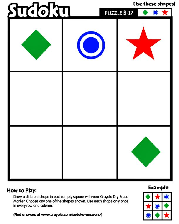 Sudoku B-17 printable Logic and Reasoning skills