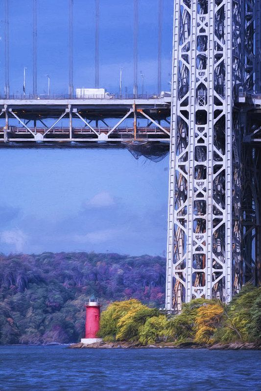 Little Red Lighthouse Art Print by Joan Carroll.  The little lighthouse sits under the George Washington Bridge in NY City. All prints are professionally printed, packaged, and shipped within 3 - 4 business days. Choose from multiple sizes and hundreds of frame and mat options.