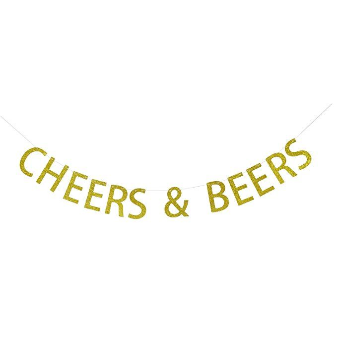 Amazonsmile Cheers Amp Beers Banner Gold Glitter Garland Sign