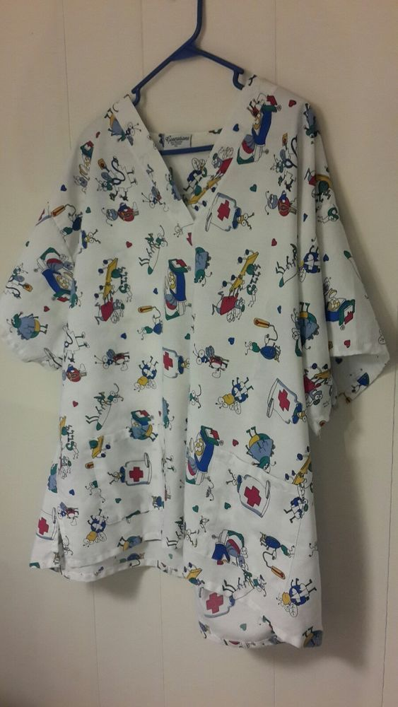 Generations Scrub Uniform Top sz 4xl White with Bug and Medical Equipment Print #Generations