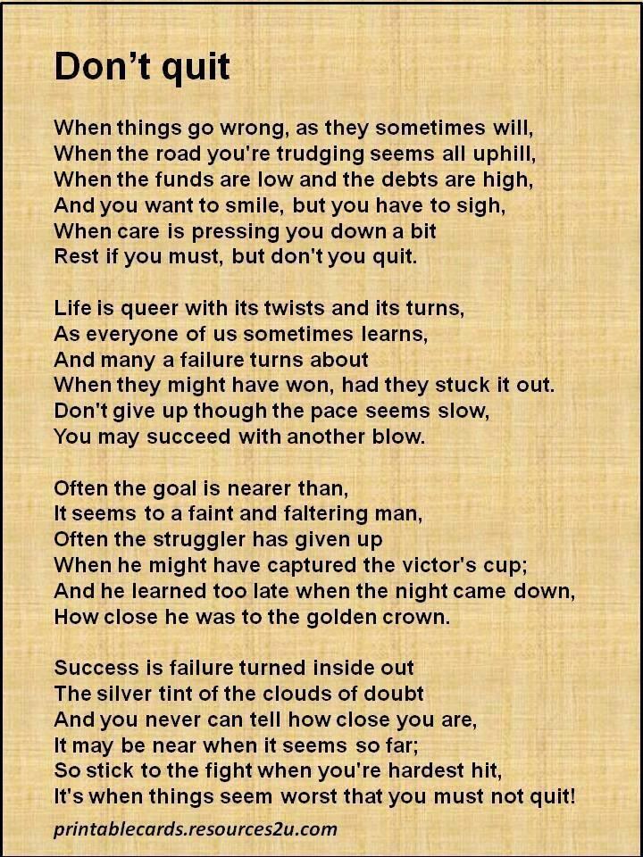 dont quit inspirational quotes quotesgram