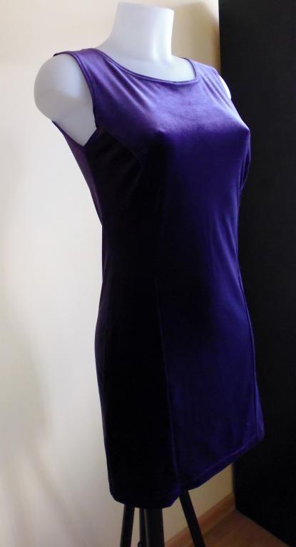 Sukienka fioletowa klasyczna rozmiar 36