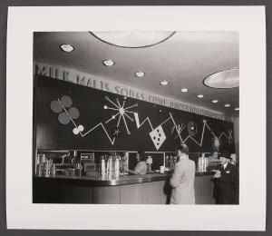 2008/157/1 Photographic print, Patricia's Milk Bar, paper, photograph by Max Dupain, Sydney, New South Wales, Australia, 1948, printed 2008 - Powerhouse Museum Collection