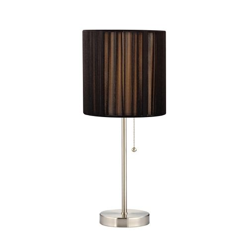 pull chain table lamp with black string drum shade shades. Black Bedroom Furniture Sets. Home Design Ideas