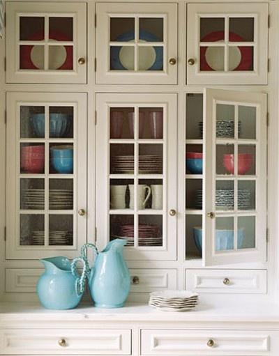 Glass Door Cabinets + Colorful Dinnerware