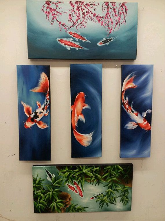 A 5 Piece Oil Painting of Koi Fish. The middle three are my favorite.