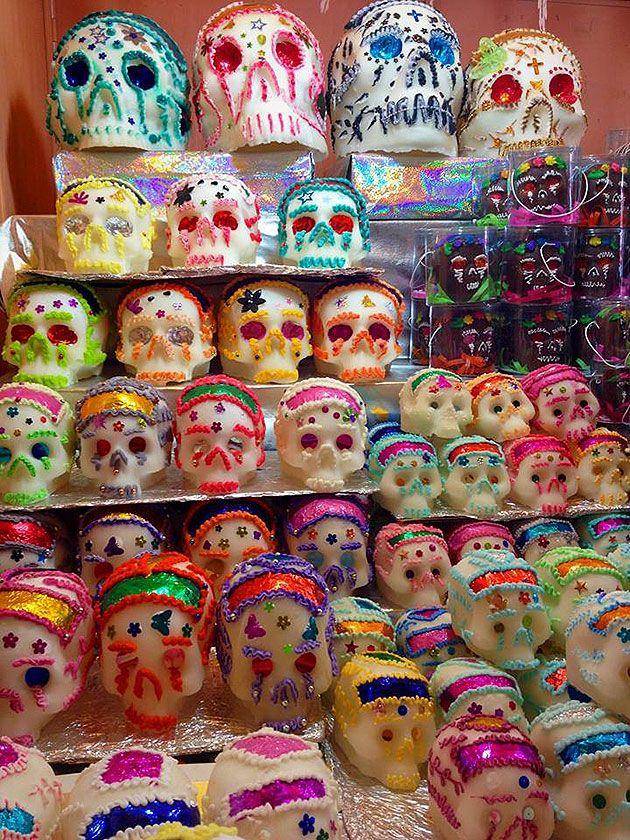 Day of the Dead sugar skulls. Dulces de México calaveritas de azucar Toluca, Estado de México