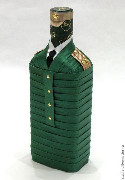 """Подарочное оформление бутылок ручной работы. Ярмарка Мастеров - ручная работа. Купить Бутылка """"Подполковник"""". Handmade. Зеленый, декор бутылки"""
