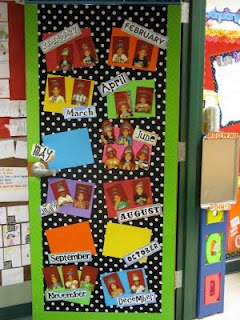I hung fabric on my classroom door, added some cute border, laminated cardstock and the months of the year in random fonts and then the kiddos pictures. I have to say that I am in love with it. I love how personal it is and the kids love looking at their pictures.