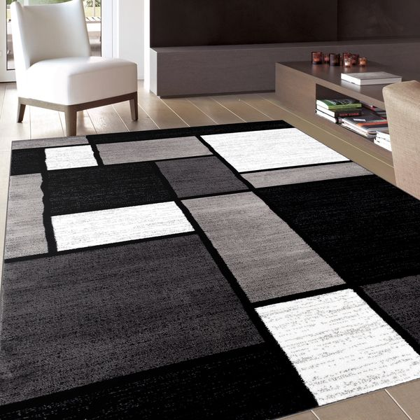 Contemporary Modern Boxes Grey Area Rug (5u00273 x ...