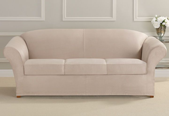 Cheap Sofas Sure Fit Heavyweight Stretch Suede Individual Cushion Sofa Cover Cement Box SureFit Transitional couch Pinterest Sofa covers Cement and Sofa