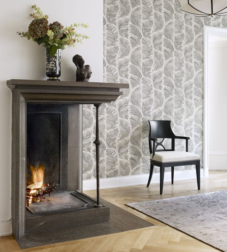 Open fire and parquet flooring.  Trend | Scandi | Grace Wallpaper by Sandberg | Jane Clayton