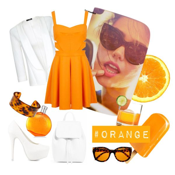 #orange by miqua on Polyvore featuring Mode, Miss Selfridge, Quiz, Nly Shoes, Fornash and Hermès