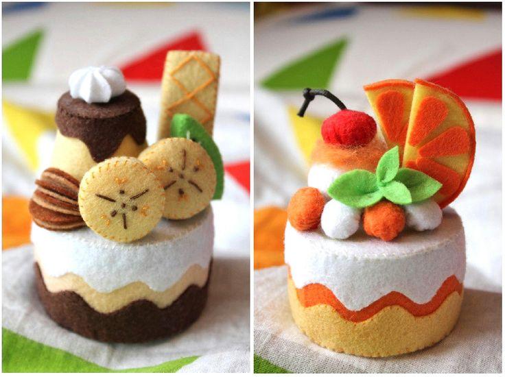 Patterns Felt Chocolate Banana Cake & Orange Cake by typingwithtea